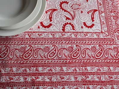 Red And White Paisley Tablecloth