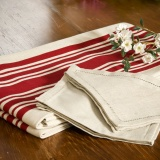Beige and Red Striped Tablecloth
